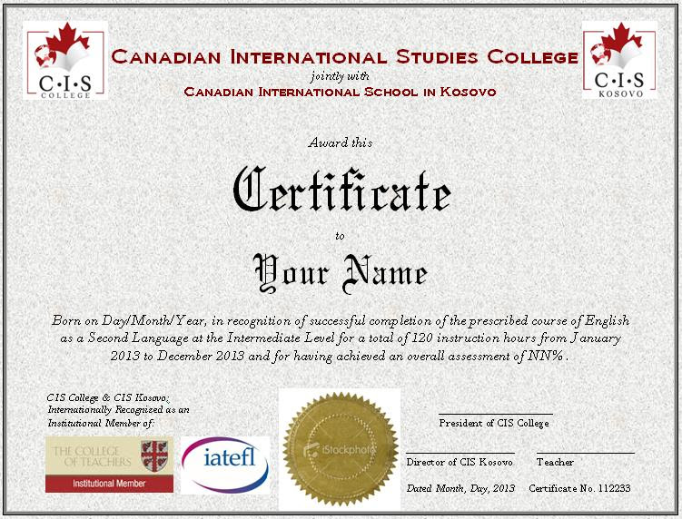certificate esl template cis sample completion cisc cisk course kosovo source