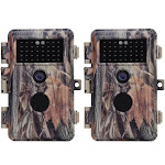 2-Pack No Glow Game Field Cams & Trail Deer Hunting Cameras 20MP 1920*1080P Video Motion Activated Waterproof IP66 Night Vision