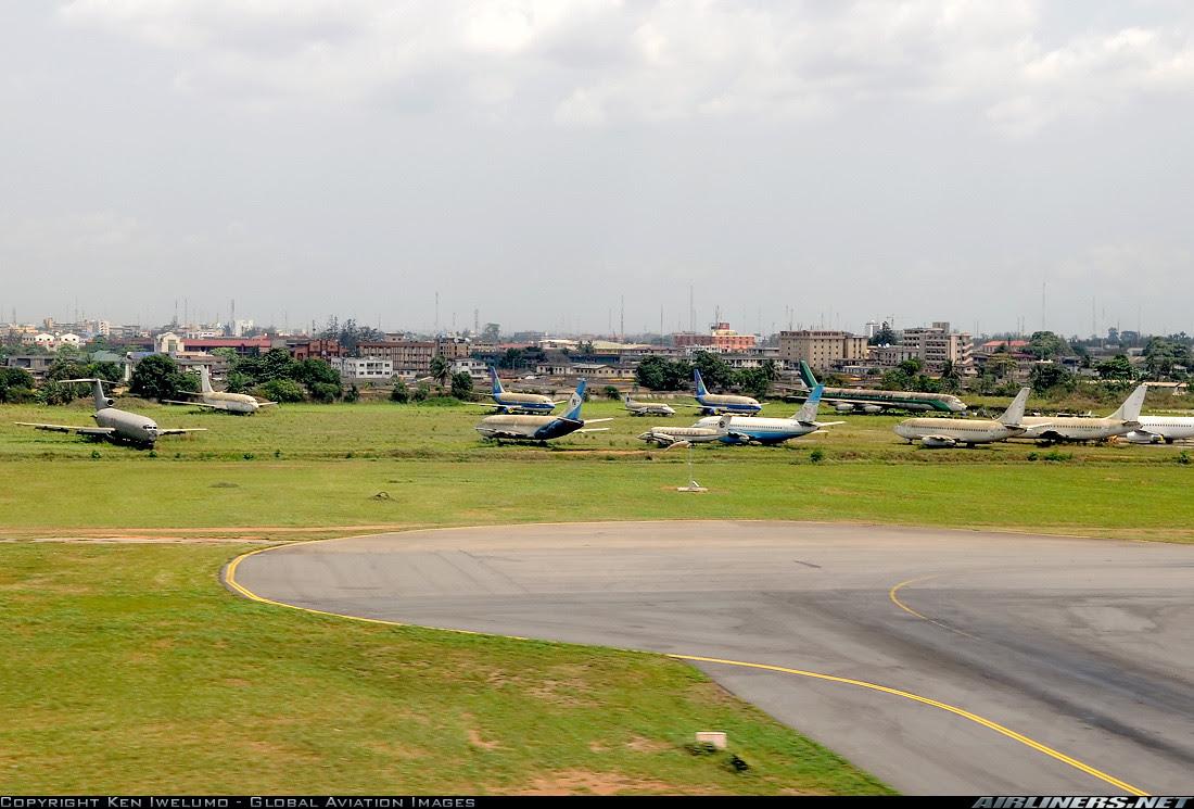 Aircraft graveyard at Lagos Airport, Nigeria