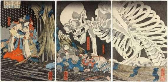 Utagawa Kuniyoshi, Princess Takiyasha summons a skeleton spectre to frighten Mitsukuni