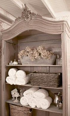 Love the furniture piece.  FRENCH COUNTRY COTTAGE: FRENCH COTTAGE BATH
