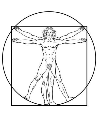 Vitruvian Man By Leonardo Da Vinci Coloring Page Free Printable