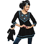 Black Kurti crushed georgette w/ ribbon worked neckline and lace borders.-Large