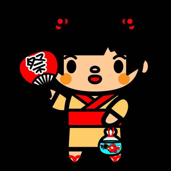 かわいい夏祭りの金魚の無料イラスト商用フリー オイデ43