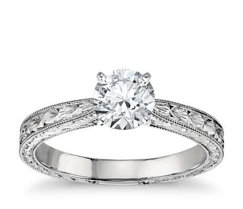 Hand Engraved Solitaire Engagement Ring in Platinum   Blue
