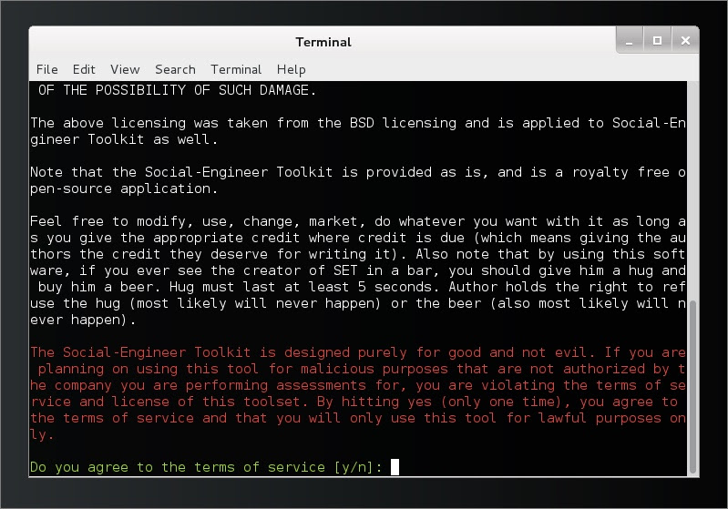 Run Kali Linux Social Engineering Toolkit