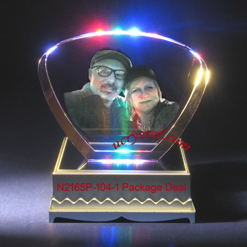 personalized photo crystal gift, photo crystal engraving, fan shape package deal