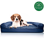 FurHaven Pet Dog Bed   Orthopedic Quilted Sofa-Style Couch Pet Bed For Dogs & Cats (Navy, Medium)