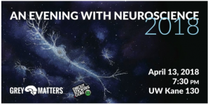 An announcement for the Evening with Neuroscience event on 2018-04-13