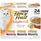 Fancy Feast Delights with Cheddar Cat Food, Grilled Varieties - 24 cans, 3 oz each