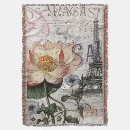 girly lotus flower vintage paris eiffel tower throw