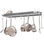 J.K. Adams Metallic Gray Chrome and Maple Ceiling Pot Rack, 39 Inch