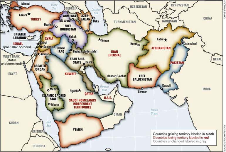Συνωμοσία ο χάρτης… «προφητεία» για τη Μέση Ανατολή του 2006;