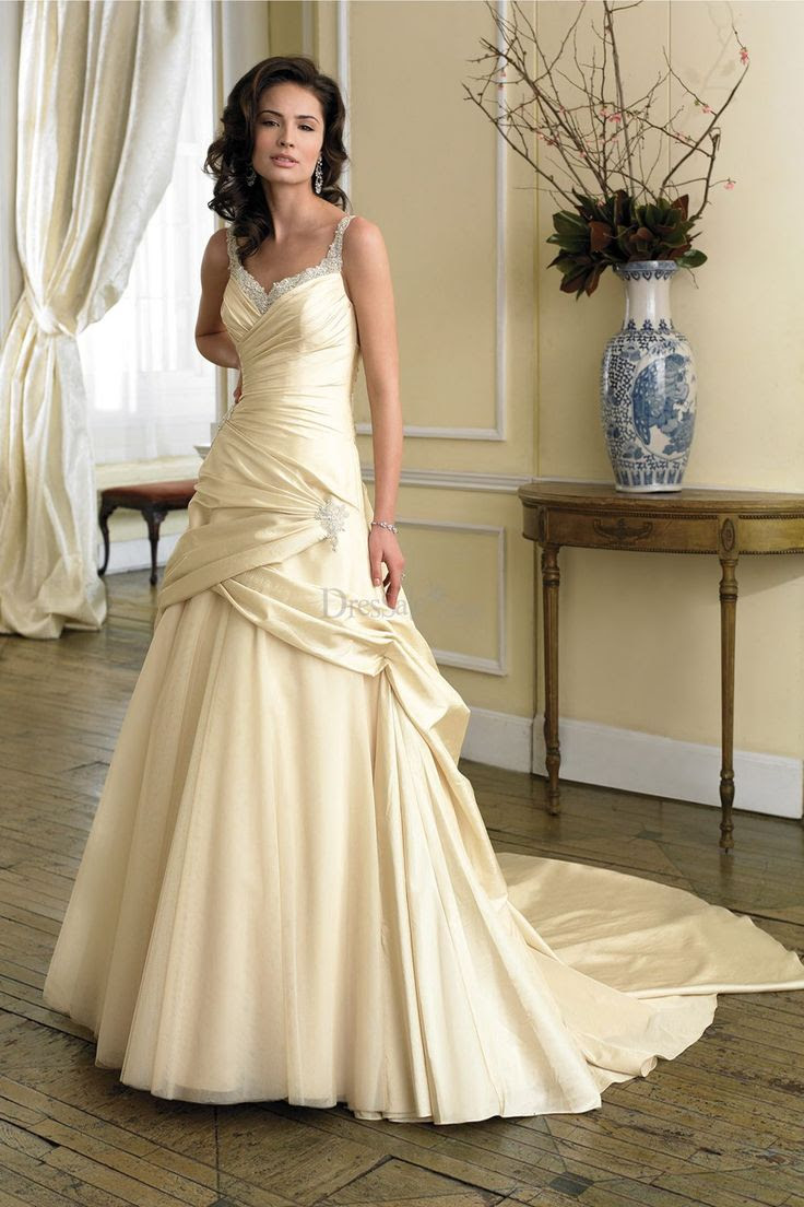 charming classic pale yellow wedding dress with sequin
