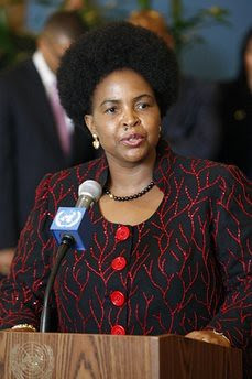 Minister for International Relations and Cooperation of the Republic of South Africa, Maite Nkoana-Mashabane, speaks to journalists at United Nations headquarters following her country's election to the Security Council. by Pan-African News Wire File Photos