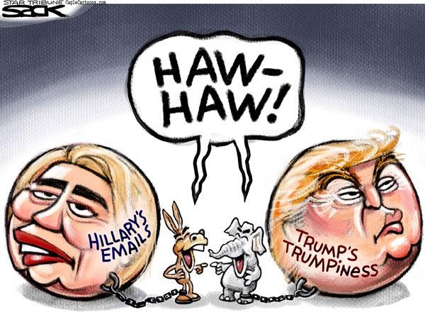 Image result for trump vs hillary cartoons