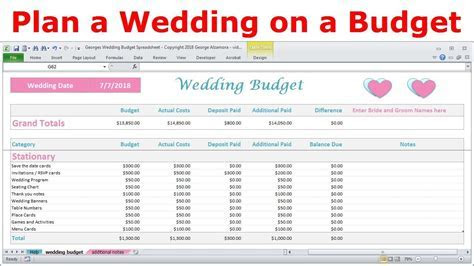 Simple Wedding Budget Calculator Spreadsheet   Excel