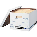 Bankers Box Stor/File Basic-Duty - Storage box - Letter, Legal - white, blue (pack of 4)