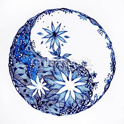 Yin Yang Symbol Watercolor Painting Minimal Design Hand Drawn
