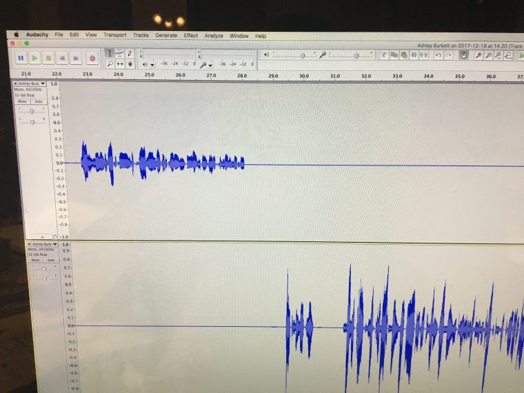 Audacity is a free, handy open source audio editing tool. I use this to teach my students how to edit audi. You'll notice that I've used the double arrow at the bottom of each audio track to make them taller. A tall track makes it so much easier to edit!