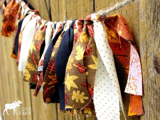 Thanksgiving rag garland rustic thanksgiving by MooseCountryCrafts