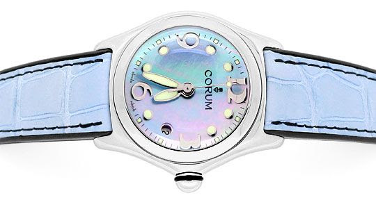 Foto 1, Corum Bubble Medium Hellblau Perlmutt, Stahl Ungetragen, U1482