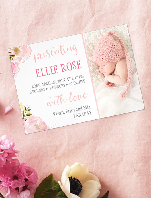 Watercolor Roses Pink Magnetic Birth Announcement Cards