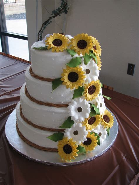 Sunflowers And Daisies Wedding Cake   CakeCentral.com