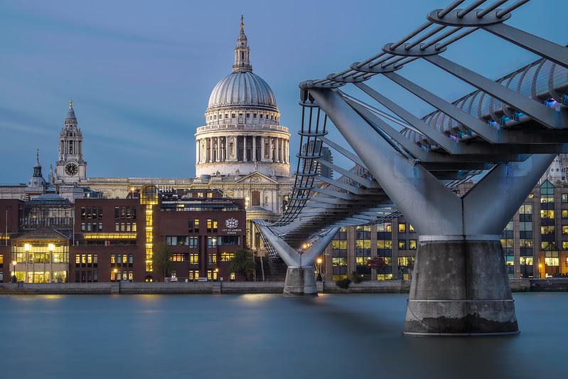 St Paul's and Millennium bridge (West side)