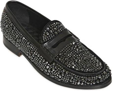 Louis Leeman Crystal Velvet Money Penny Loafers in Black ...