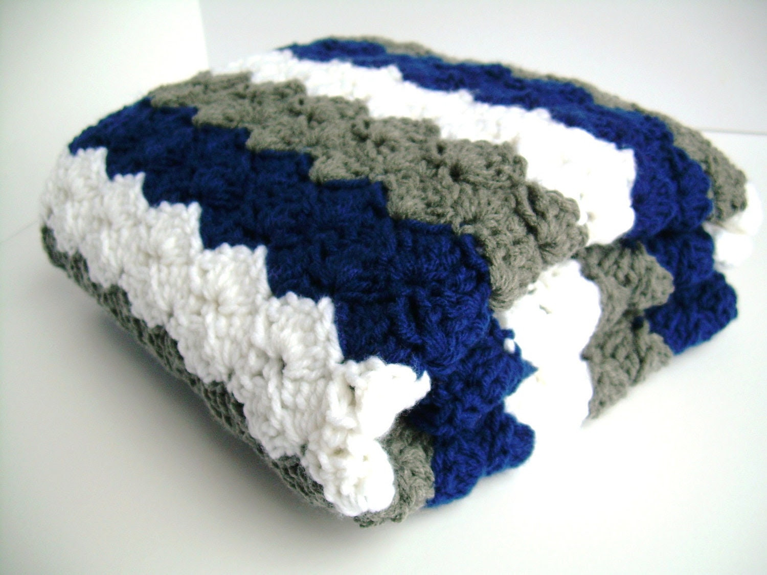 Baby Blanket, Blue, White, and Grey Crochet Blanket, stroller / travel size - Jadescloset