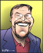 Kevin Featherly, Political Reporter / Tech Writer / Freelance Journalist /  Columnist; caricature by Kirk Anderson