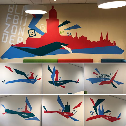 8 muurschilderingen voor Accare Deventer | Egbert.EGD | Stencil Art | Tape Art | Deventer