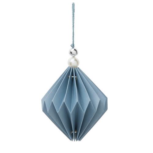 Decorazione blu a rombo di carta per l'abete L 8 cm