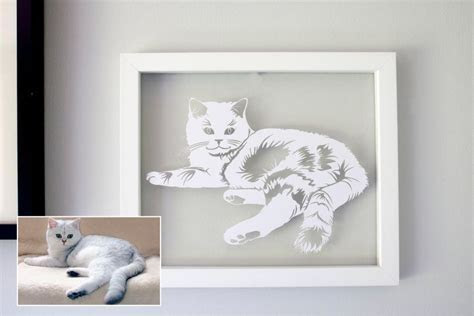 Personalised Cat Portrait Papercut in a Floating Frame