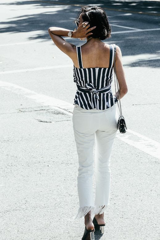 Le fashion Blog Retro Sunglasses Striped Wrap Top White Fringe Jeans Closed Toe Heeled Mules Via The Chriselle Factor