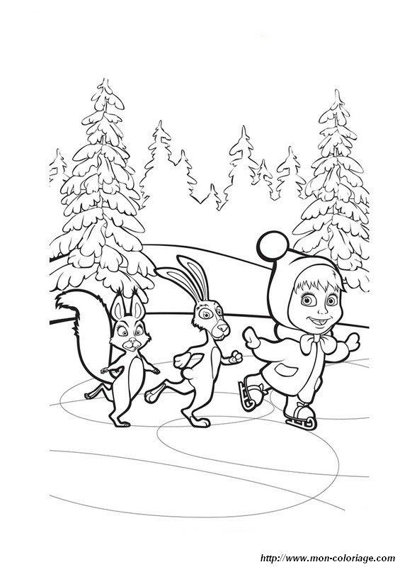 coloring Masha and the bear, page mascha15