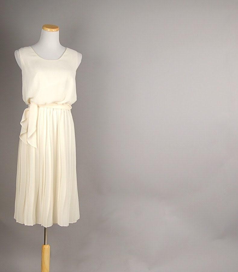 vintage 70s ivory SHEER sash accordion pleated dress