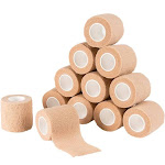 Juvale Self Adherent Wrap - 12 Pack Self Adhesive Tape, Cohesive Bandage Tape, Medical Tape, Gauze Roll, First Aid Supplies for Sports, Wrist, Ankle, Brown