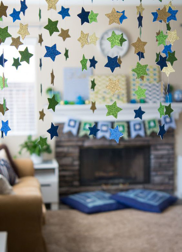 awesome ramadan  mantel with hanging star ideas