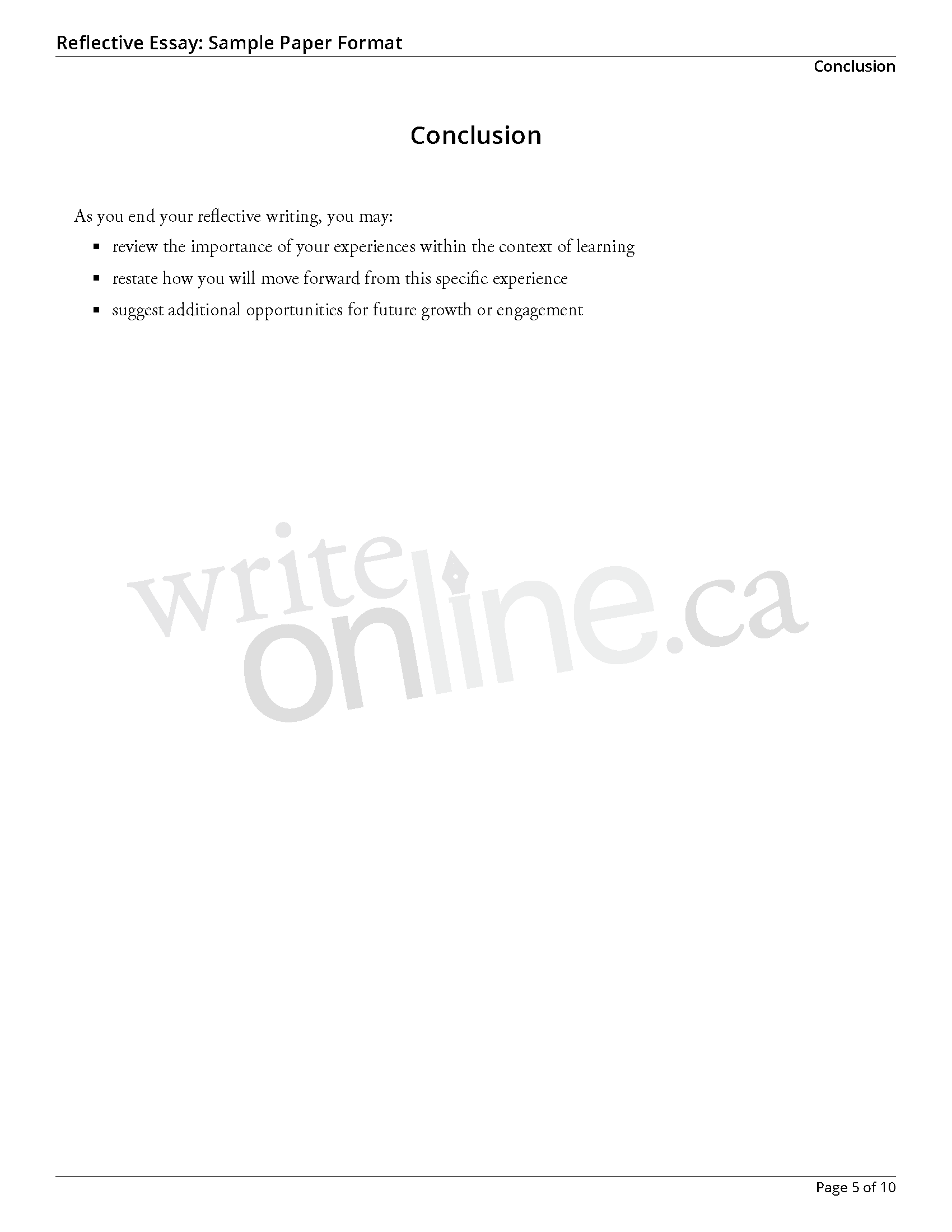 writing a reflection essay line