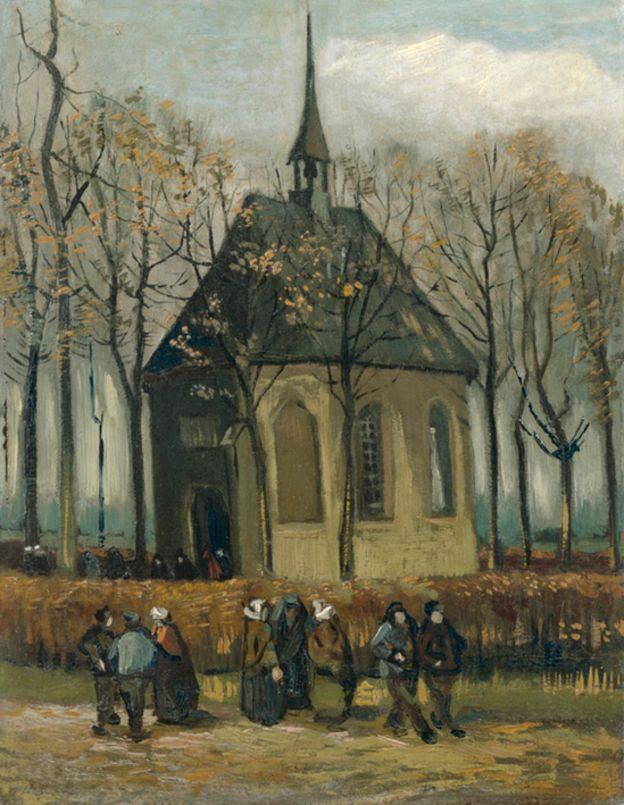 Vincent van Gogh, Congregación saliendo de la iglesia en Neunen, 1884-1885