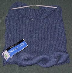 Denim silk knit purse in progress