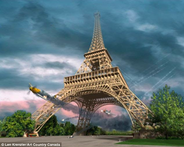 Action: An artist's depiction of the dramatic moment shows Overstreet in his P51 Mustang chasing an ME 109 under the Eiffel Tower in Spring 1944. He was able to shoot the plane down