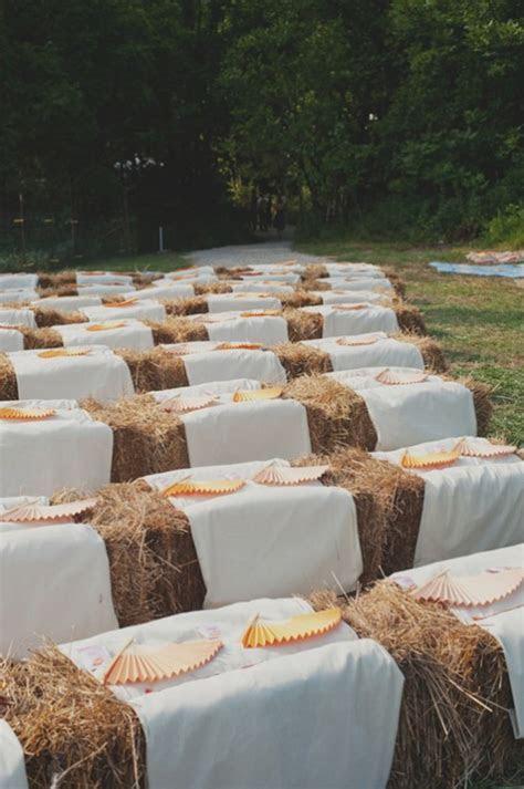 Wedding Ceremony Seating Hay Bales   Elizabeth Anne