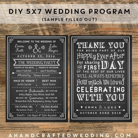 Customize your own wedding program with these printable