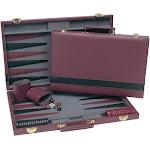 WE Games Tournament Backgammon Set - Burgundy & Black Leatherette