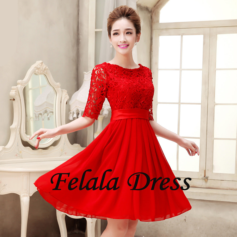 Red evening dresses short
