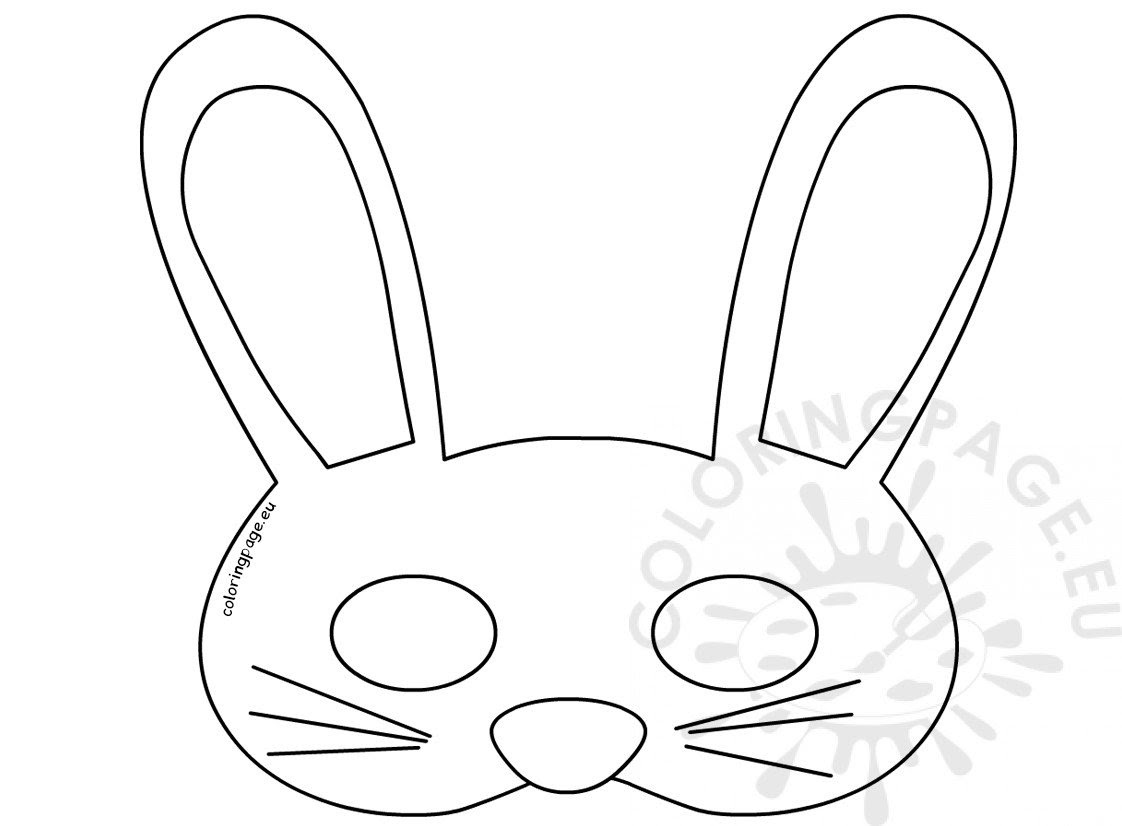Printable Easy Easter Bunny Mask - Coloring Page