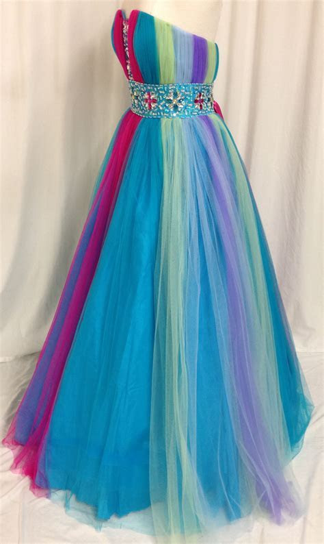 Rainbow Sweetheart Tulle Ball Gown Prom Dress with